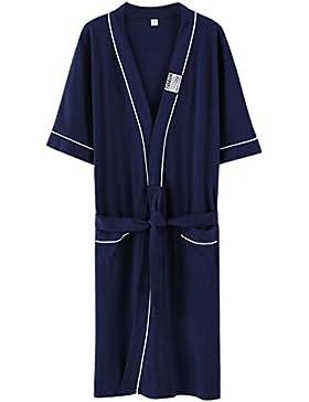 DDOQ Albornoz de Pijamas de Algodón de Manga Corta de Verano de Pareja de Moda Albornoz (Color : Dark Blue, Tamaño...