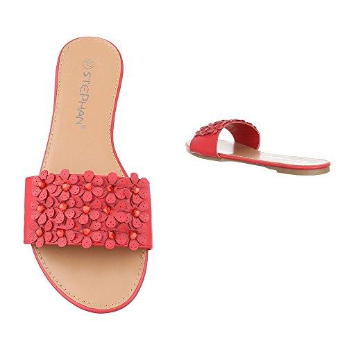 098bd7b27893f8 ... Pantoletten Damen Schuhe Jazz   Modern Strass Besetzte Ital-Design  Sandalen   Sandaletten Rot