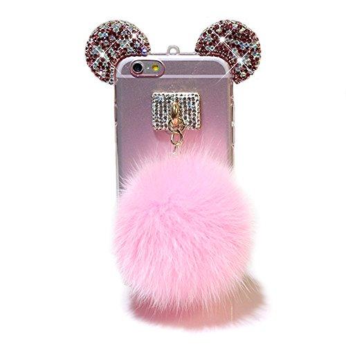 iPhone 7 Plus Hülle, Vandot Glitzer Glänzend Transparent Case für iPhone 7 Plus Handmade Schutzhülle TPU Silikon Diamant Bling Shining Glitter Weich Zurück Cover Telefonkasten Maus Mouse Ohr Ear Ultra Pink Rosa-1