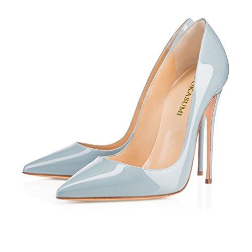 EDEFS Femmes Artisan Fashion Escarpins Délicats Classiques Elégants Pointus Des Couleurs Variées Chaussures à talon de 120mm Bleu Bleu Clair