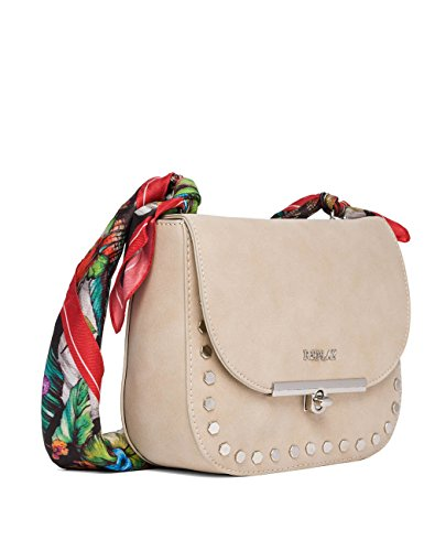 Replay Womens Womens Faux Suede Pink Shoulder Bag Beige