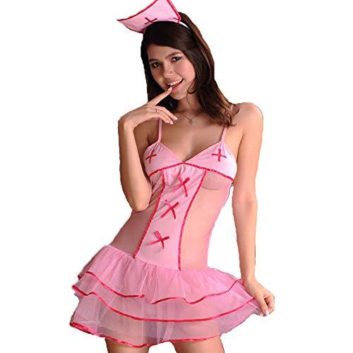 QMKJ Frauen Dessous Pink Bunny Girl Hostess Erwachsene ausgefallene Kleid Kaninchen Erwachsenen-Party-Kostüm Kaninchen Ohren und Schwanz Cosplay Spitze Bodysuits