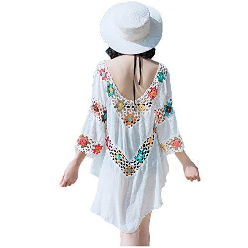 unika Bikini Cover up Strandponcho Strandkleid Weiß Sommerkleid Sommer Bademode (One Size(36-42), 986) (Sehen Sie Durch Schwimmen Kostüme)