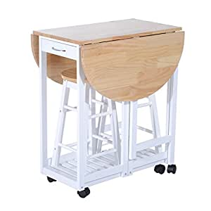 Homcom 3pc Wooden Kitchen Cart Mobile Rolling Trolley