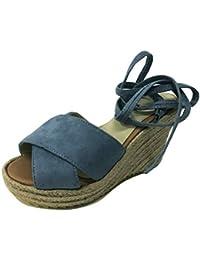 Minetom Mujer Sandalias Dulce Alpargatas Chancletas De Tacón Alto Plataforma Cuña Playa Zapatos de Verano Hebilla