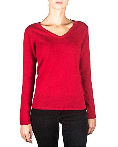 Roter Kaschmir-pullover (100% Kaschmir Damen Pullover | Sweater V-Ausschnitt 2-fädig (Rot, M))