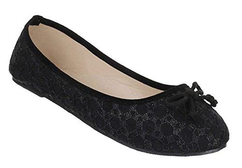 Kinder-Schuhe Ballerinas | elegante Slipper mit Schleife in verschiedenen Farben und Größen | Schuhcity24 | Loafers mit Stick-Muster Schwarz