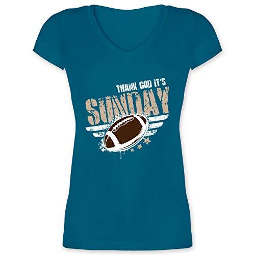 American Football - Thank God Its Sunday Football - L - Türkis - XO1525 - Damen T-Shirt mit V-Ausschnitt
