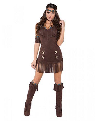 Horror-Shop Braunes Indianerin Kostüm für Fasching & Halloween L