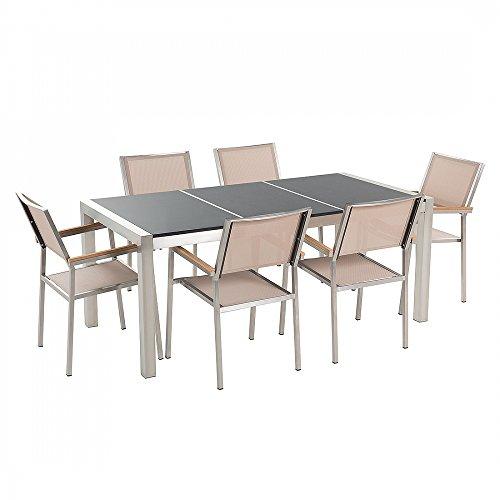 Gartenmöbel - Granitgartentisch 180 cm schwarz poliert mit 6 beigen Stühlen - GROSSETO