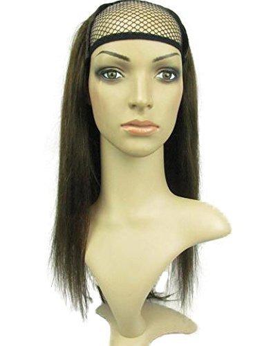 remeehi 3/4Halbe Perücke 100% indisches Remy Menschliches Haar seidig glattes Haar Schuss Gap 38,1cm 120g -