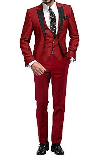 YYI Männer Anzug Slim Fit 3-teilige Formale Business-Jacke Weste Anzughose -