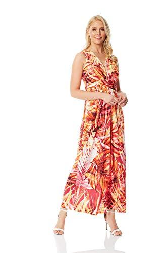 Roman Originals Damen Maxi-Kleid mit Tropen-Print - Damen Maxi-Kleid mit V-Ausschnitt, Sommer, Partys, lässig, Urlaub, Strand, abends, bodenlang, ärmellos - Orange - Größe 44