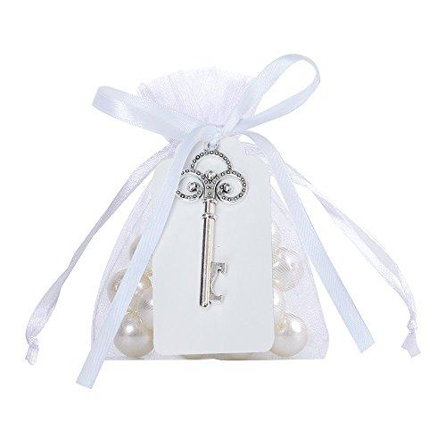 Awtlife 50pz rustico vintage chiave apribottiglie con carta tag e velato borsa per bomboniere matrimonio - 3