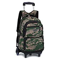 Rolling Backpack 6 Wheels Trolley Bag - Belegao Boys Girls Teens Trolley Bag Primary Schoolbag Waterproof Large Capacity Removable for Kids Student Children School Traveling
