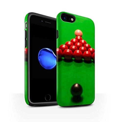 STUFF4 Matte Harten Stoßfest Hülle / Case für Apple iPhone 8 / Rote Kugel/Kreide Muster / Snooker Kollektion Schwarze Kugel/Rack/Rosa