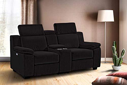 lifestyle4living Kinosessel 2-Sitzer, Mikrofaser, anthrazit | Hochwertiger 2er Cinema-Sessel/Sofa mit Getränkehalter & Liegefunktion für entspannte Heimkino-Abende