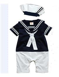 Ouneed® barboteuse Chapeau bébé Coton manches courtes Marine bébé conjoint costume marin (90cm, Bleu foncé)