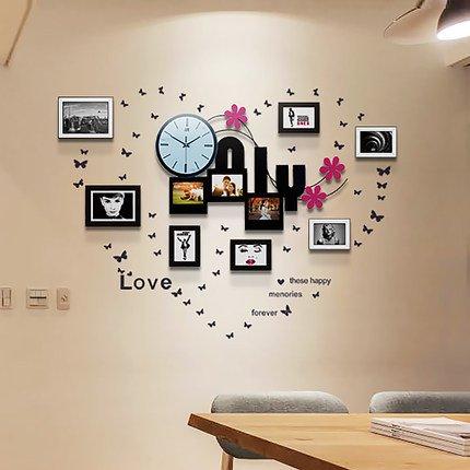 YANYANGXIN Moderne bunte stummer Wanduhr Home Office Decor Geschenk für Küche Wohnzimmer Schlafzimmer Photoframe Uhren / 20 Zoll / Wanduhr + Rahmen an der Wand