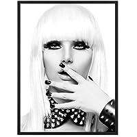 e921866f7f0fd4 PHOTOLINI Poster mit Bilderrahmen Schwarz 'Blonde Frau' 30x40 cm schwarz-Weiss  Motiv Foto