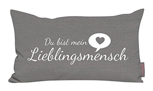 Kissen Reinigung Hamburg - Kissen Lieblingsmensch grau 30x50cm Made in