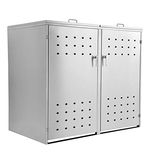 *Zelsius Edelstahl Mülltonnenbox Squares für 2 Mülltonnen je 120 und/oder 240 Liter, Mülltonnenverkleidung mit 2 Klappdeckel, Metall Müllbox, abschließbar*