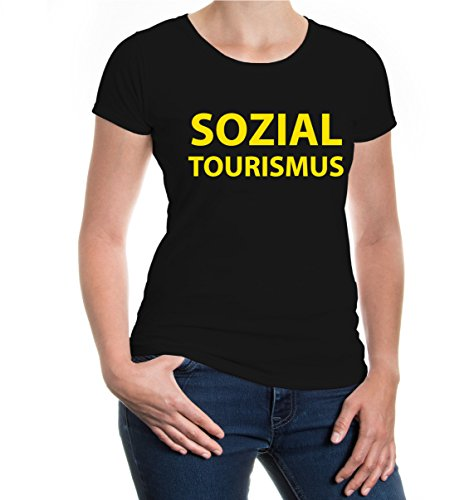 buXsbaum® Girlie T-Shirt Sozialtourismus Black-Sunflower
