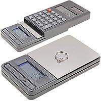 Songlin@yuan 2 en 1 Bolsillo electrónico 1000 g x 0,1 g balanza Digital para joyería, calculadora con Pantalla LCD Digital, Acero Inoxidable Portátil