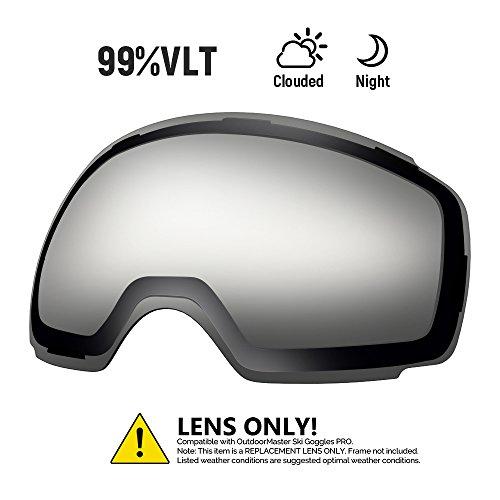Outdoormaster occhiali da sci pro lenti sostitutive - 20+ colori diversi(vlt 99% lente trasparente con custodia per trasporto gratuita)