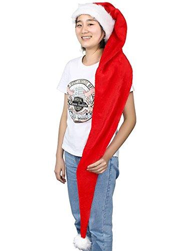 Yodensity, cappello da babbo natale, lungo 156 cm, per adulti, per natale, festività, compleanno, cosplay, festa in costume, oggetti per la scena fotografica red