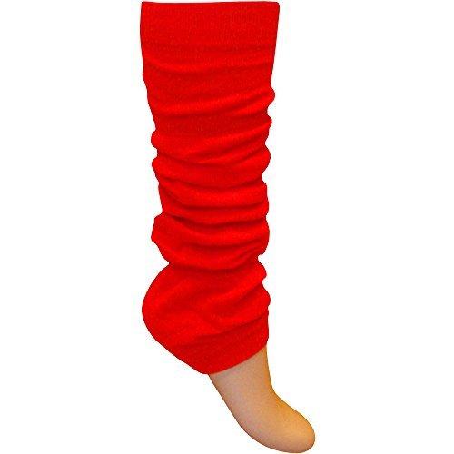 Mädchen Damen Beinwärmer Hell Fluoreszierendes Neon Stretch Fit Knöchelwärmer - Einheitsgröße, Neon Rot (Tap Dance Kostüme)