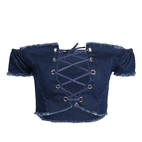 Moorui Donna Jeans Casual Crop Tops Senza Spalline Canotte Canottiere Reggiseno Bustier Gilet Blu