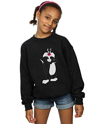 Absolute Cult Looney Tunes Mädchen Sylvester Crossed Arms Sweatshirt Schwarz 9-11 Years