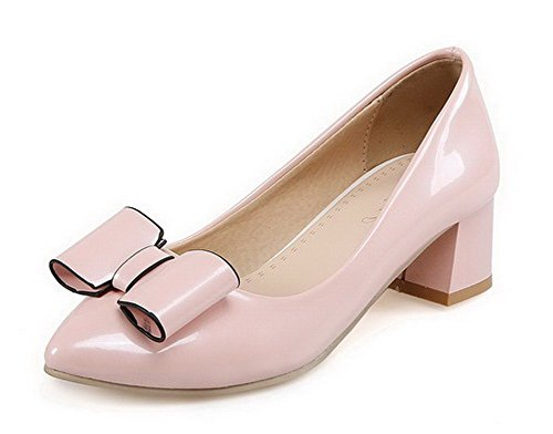 VogueZone009 Femme Matière Souple Pointu à Talon Correct Tire Couleur Unie Chaussures Légeres Rose