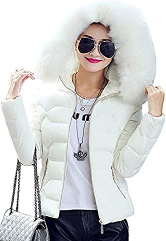OMZIN Womens Puffer Fur Collar Jacket Hooded Thickened Cotton Short Down Coats White XS