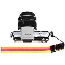 Foto & Tech Four Seasons series Amarillo/Naranja Punto De groguén multi-striped Correa de muñeca ajustable para cámaras compactas sin espejo SONY NEX, Leica, Canon, Nikon, Panasonic, FujiFilm, Olympus, Pentax, Samsung