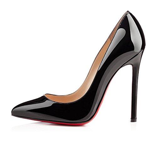 SHOFOO - Femmes - Escarpins - Cuir synthétique - Beige - Talon aiguille - Bout pointu fermé Noir