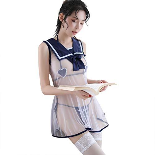 WHWH Sexy Dessous mesh perspektive niedliche Schwester Student Brust röntgen abnehmbare uniform versuchung Leidenschaft sexy,Blue-OneSize (Niedliche Kostüm Für 2 Schwestern)