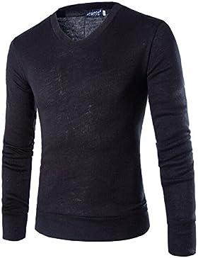 HY-Sweater Cuello en V Hombres Tejer Base Shirt Slim, Negro, XXL