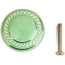 Annata Rotonda Maniglia Ceramica Maniglione Cassettiera Armadio Manopola Mobili - Verde