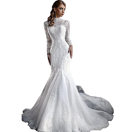 dressvip-White-High-Neck-Lace-Long-Sleeves-Mermaid-Sheath-Floor-Length-Wedding-Dress
