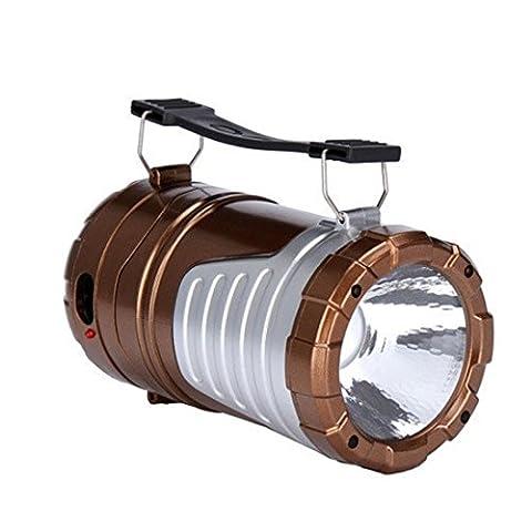 Lanterne de camping solaire rechargeable pliable LED Lampe de camping et lampe de poche à main levée en le fond pour la randonnée Camping Pêche pannes Hurricanes chargement d'urgence pour téléphone portable, bronze