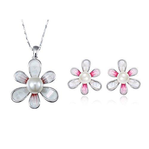 Ornamento Ciondolo e orecchini Fiore Bianco Perla, Perla e placcato rodio - Blue Pearls - CRY E753-E342 J