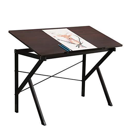 DlandHome 120 * 60 cm Zeichnung Schreibtisch, Höhenverstellbare Tisch Hobby/Handwerk/Skizze/Zeichentisch, Home Office Computer Schreibtisch, Walnut -