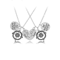 TBOP Necklace Heart-Shaped Suit Friend Best Friend Compass Alloy Pendant Necklace in Silver Color 2.8cm*1.9cm 31.5g