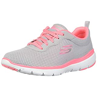 Skechers Damen Flex Appeal 3.0 Sneaker, Grau (Light Grey Hot Pink Lghp), 41 EU