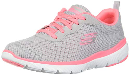 Skechers Damen Flex Appeal 3.0 Sneaker, Grau (Light Grey Hot Pink Lghp), 39.5 EU