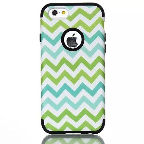 iPhone 6 Case , iPhone 6S Case, Lantier antichoc Case hybride triple couche de protection en plastique dur avec Housse silicone souple pour Apple iPhone 6 / 6S 4,7 pouces (vague blanche) Wave Black