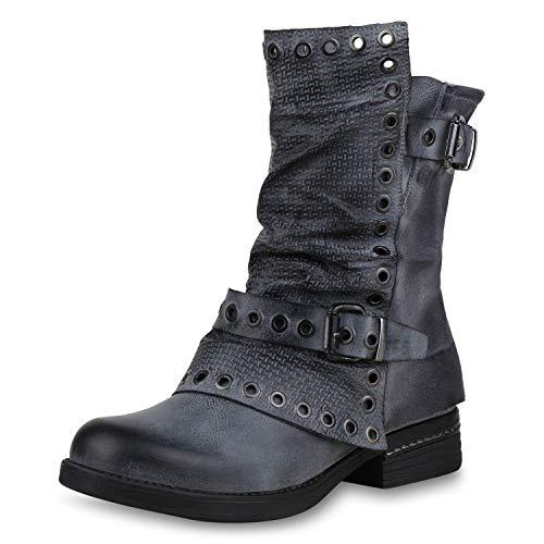 SCARPE VITA Damen Stiefeletten Biker Boots Leicht Gefütterte Stiefel Ösen 171172 Grau Ösen 38