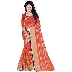 J B Fashion Women's Silk Saree With Blouse Piece (Free Size, Peach)